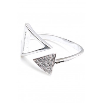 Anillo de plata doble triangulo calado/micropavé