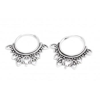 Aros de plata estilo hindu mini gotas caladas 23mm