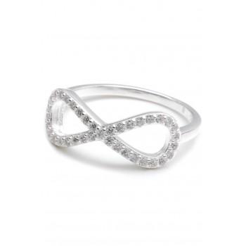 Anillo de plata infinito con micropavé