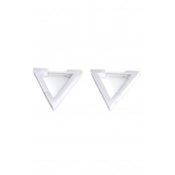 Aros de acero plateado colgante triangulo 18mm