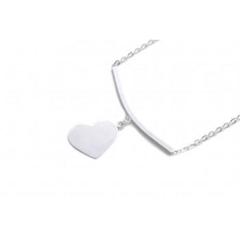 Collar de acero plateado barra con corazon 45cm