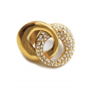 Anillo de acero dorado círculos entrelazado con cubic