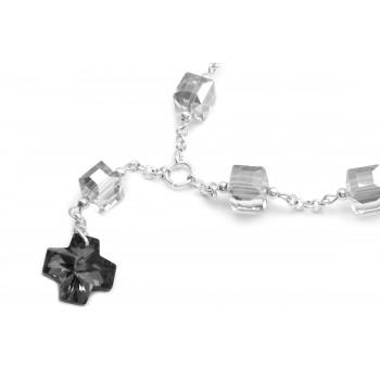 Denario de acero plateado cristal cuadrado cruz cristal 55cm
