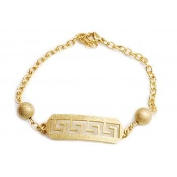 Pulsera de acero dorado guarda griega glitter bolitas 18cm