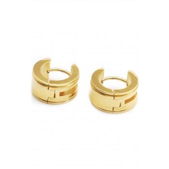Aros de acero dorado argollas borde centro calado 12mm