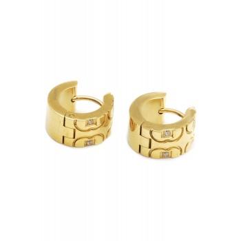 Aros de acero dorado argollas semi corazon con cubic 12mm