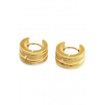 Aros de acero dorado argollas dos hileras esmeriladas 12mm