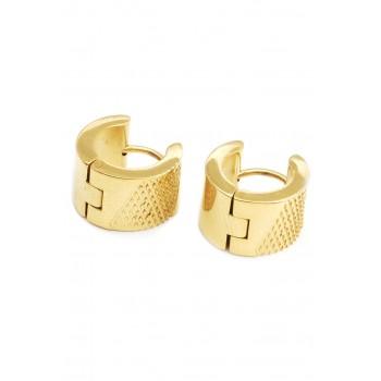 Aros de acero dorado argollas con micro rombos 12mm