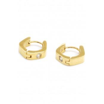 Aros de acero dorado argollas hexagono dos cubic 12mm
