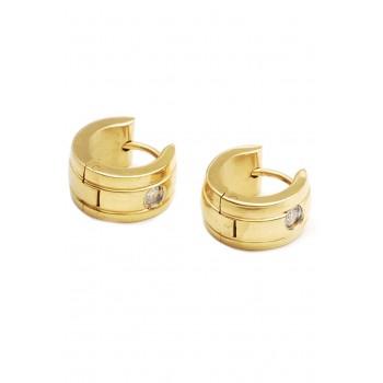 Aros de acero dorado argollas con un cubic 12mm