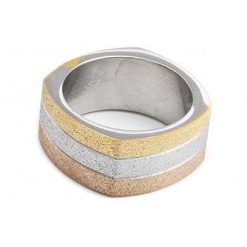 Anillo de acero combinado cuadrado tricolor glitter