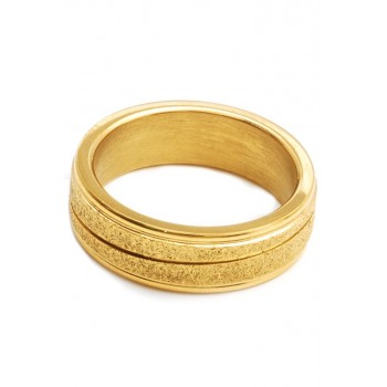 Anillo de acero dorado alianza con glitter