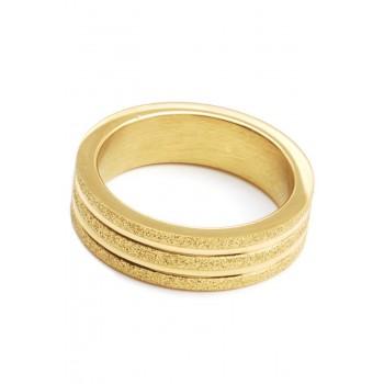 Anillo de acero dorado alianza con glitter dos rayitas