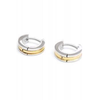 Aros de acero combinados mini argolla centro dorado 6mm