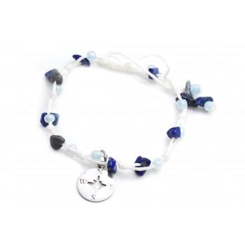 Pulsera/Tobillera de hilo encerado blanco regulable piedras azules dije