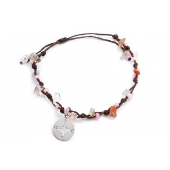 Pulsera/Tobillera de hilo encerado marron regulable piedras rosa dije