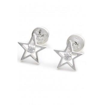 Aros de plata abridores estrella calada con cubic 6mm