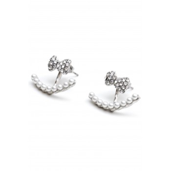 Aros de acero abanico con mini perlas y lazo 15mm