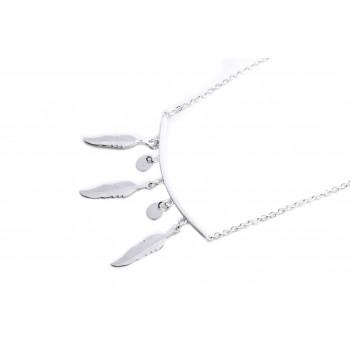 Collar de acero plateado barra con plumas circulos 45cm