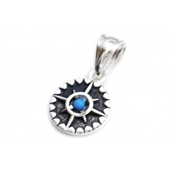 Dije de acero mini brujula centro piedra azul 12mm