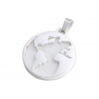 Dije de acero plateado mundo calado fondo blanco 26mm
