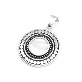 Dije de acero plateado circulo centro piedra con borde punteado 25mm