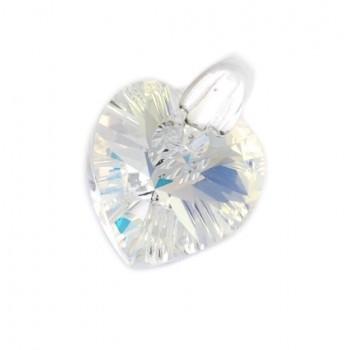 Dije de plata mini corazón cristal 10mm