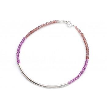 Pulsera de plata mini critales degrade rosa 18cm