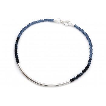 Pulsera de plata mini critales degrade azul noche 18cm