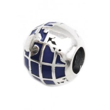 Dije de plata pasante globo terraqueo azul 9mm
