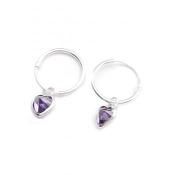 Aros de plata argolla dije corazón cristal lila 15mm