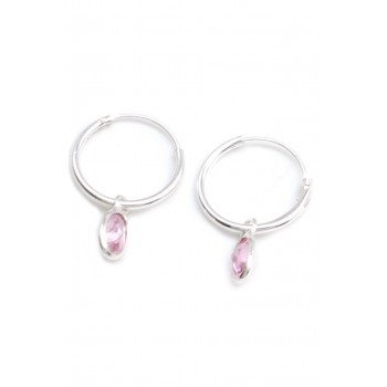 Aros de plata argolla dije ovalo cristal rosa 15mm
