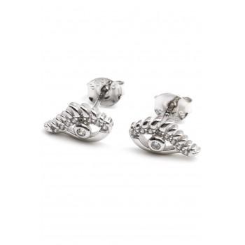 Aros de plata ojito turco con pestañas micropave 10mm