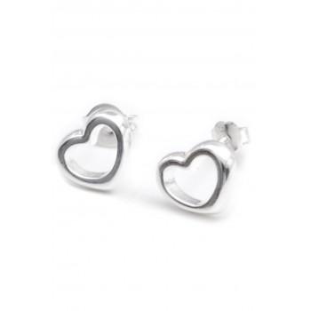Aros de plata corazón borde liso centro calado 8mm