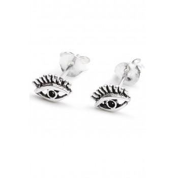 Aros de plata mini ojo turco con pestañas 5mm