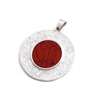 Dije de plata bordes labrados centro rojo 46mm