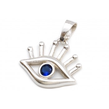 Dije de plata ojo turco con pestañas y cubic 23mm