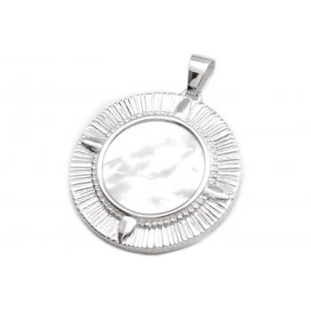 Dije de plata simil brujula centro nacar borde labrado 43mm