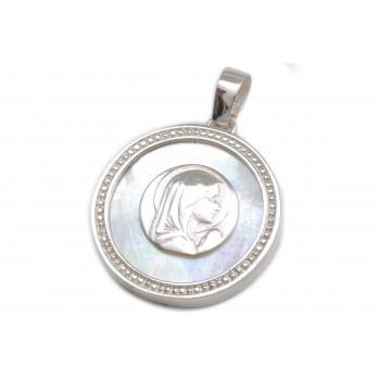 Dije de plata virgen niña fondo nácar borde labrado 35mm