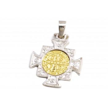 Dije de plata con duble cruz san benito empavonada 27mm