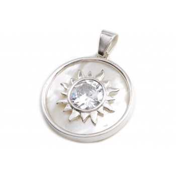 Dije de plata centro sol cristal y nacar 30mm