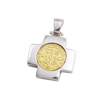 Dije de plata con duble cruz del equilibrio san benito 30mm