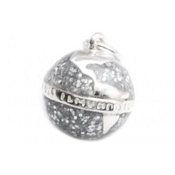 Dije de plata inflado mundo glitter color 12mm