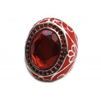 Anillo de acero ovalado rojo con piedra y poxi