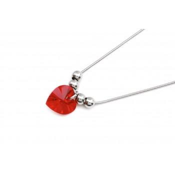 Cadena de acero con bolitas y corazón cristal rojo 45cm