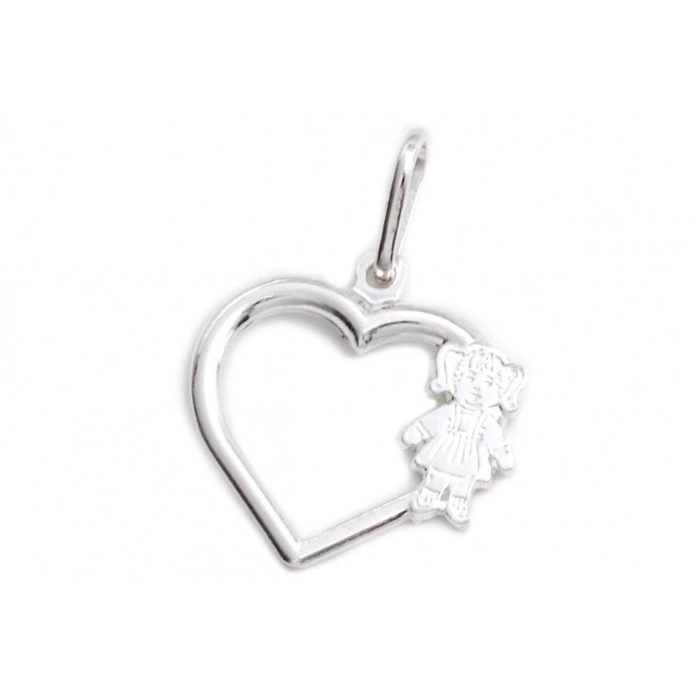 Dije de plata corazón calado con mini nena 17mm