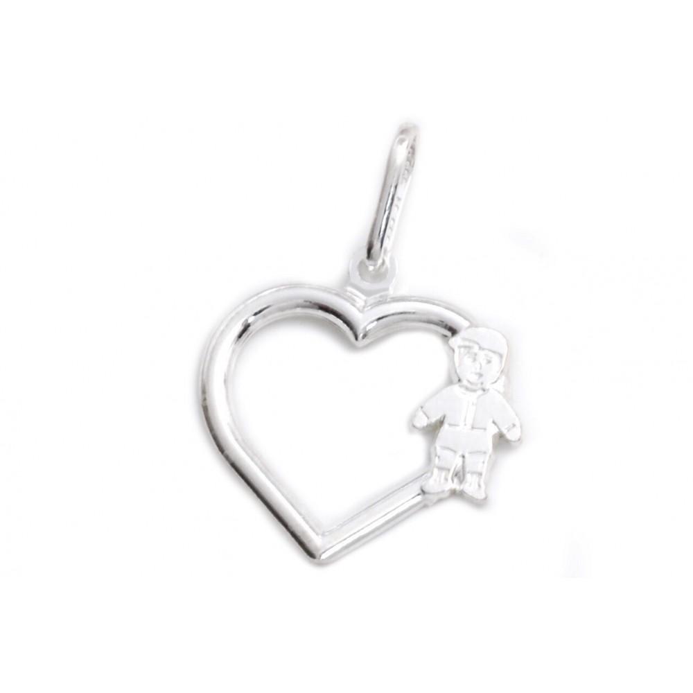 Dije de plata corazón calado con mini nene 17mm