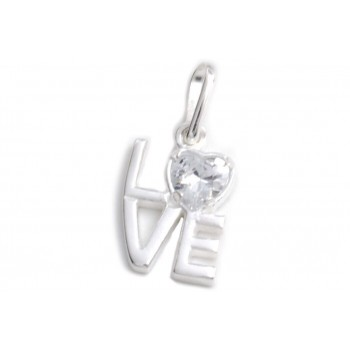 Dije de plata love con cubic corazon 15mm