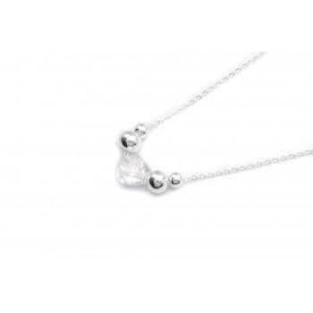 Collar de acero plateado corazón cristal boreal y bolitas 40cm
