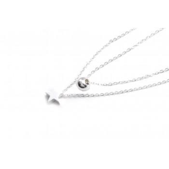 Collar de acero plateado doble estrella y bolita 40/45cm